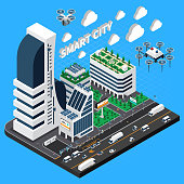 Smart city isometric composition with transport and buildings symbols vector illustration