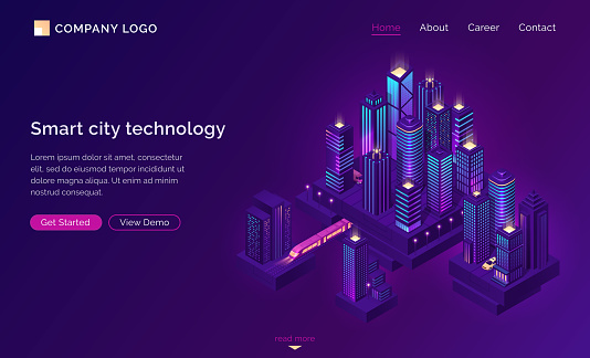 Smart city technology with isometric town