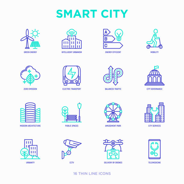 smart city thin line icons set: green energy, intelligent urbanism, efficient mobility, zero emission, electric transport, balanced traffic, public spaces, cctv, telemedicine. vector illustration. - в пути stock illustrations