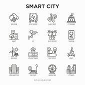 Smart city thin line icons set: green energy, intelligent urbanism, efficient mobility, zero emission, electric transport, balanced traffic, public spaces, CCTV, telemedicine. Vector illustration.