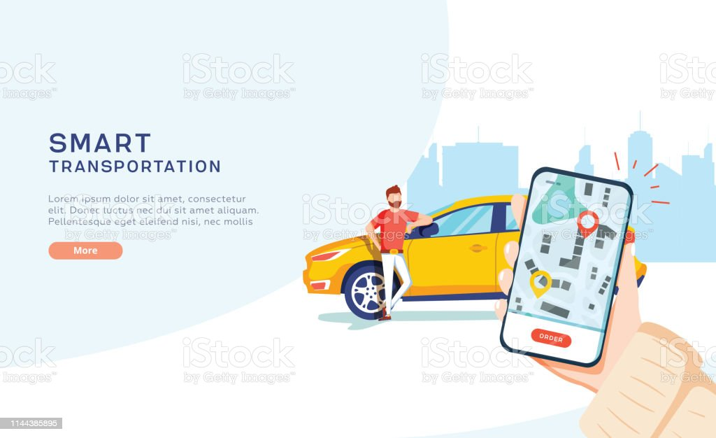 Smart city transportation vector illustration concept, Online car sharing with cartoon character and smartphone Smart city transportation vector illustration concept, Online car sharing with cartoon character and smartphone, can use for, landing page, template, ui, web, mobile app, poster, banner, flyer Adult stock vector