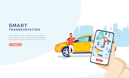 Smart city transportation vector illustration concept, Online car sharing with cartoon character and smartphone
