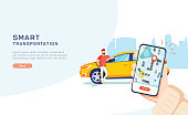 Smart city transportation vector illustration concept, Online car sharing with cartoon character and smartphone, can use for, landing page, template, ui, web, mobile app, poster, banner, flyer