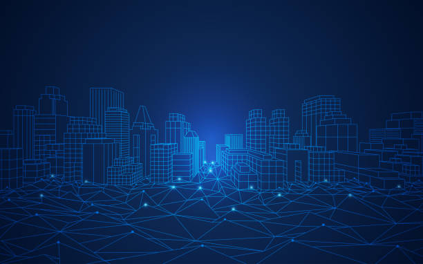 smart city concept of smart or digital city, wireframe cityscape in futuristic style information technology stock illustrations