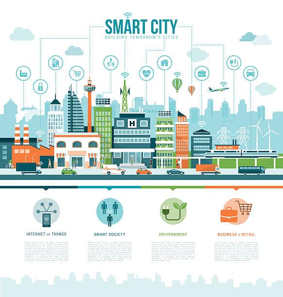 intelligente stadt - smart city stock-grafiken, -clipart, -cartoons und -symbole