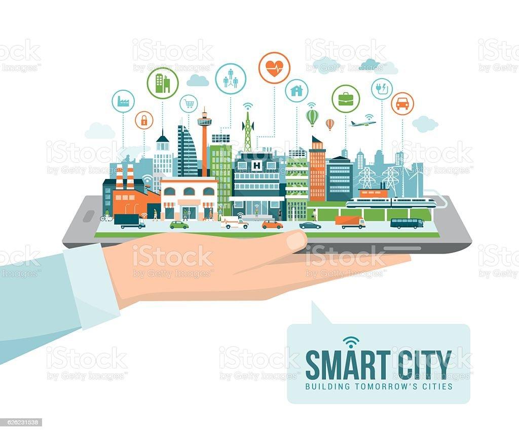 Smart city vector art illustration