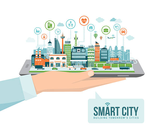 Smart city Hand holding a digital tablet with a contemporary smart city and apps icons: augmented reality and internet of things concept augmented reality sustainable stock illustrations