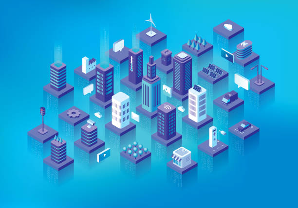 Smart city Editable vector illustration on layers.  This is an AI EPS 10 file format, with transparency effects, blends, gradients and one gradient mesh. smart city stock illustrations