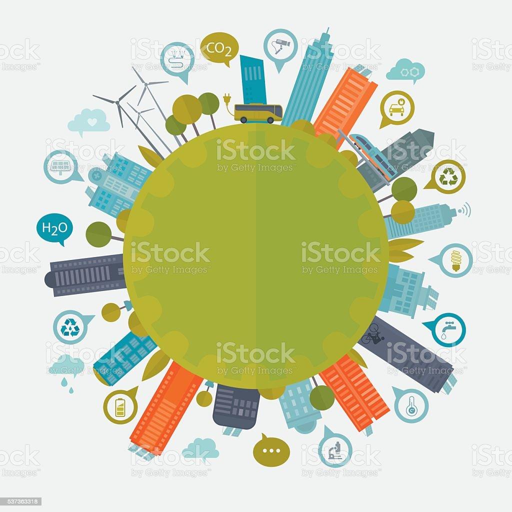 Smart City mit grünen Technologie – Vektorgrafik