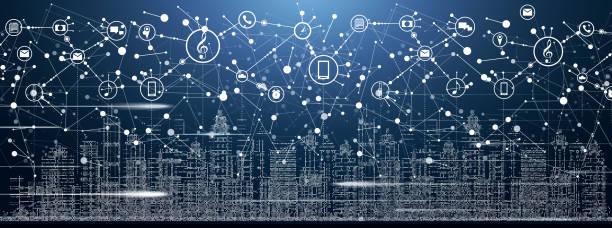 smart city mit neon-gebäude, netzwerke und internet der dinge-symbole. - smart city stock-grafiken, -clipart, -cartoons und -symbole