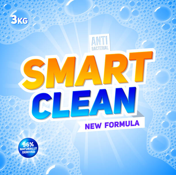 smart clean. template for laundry detergent. package design for washing powder & liquid detergents. stock vector - disinfectant stock illustrations
