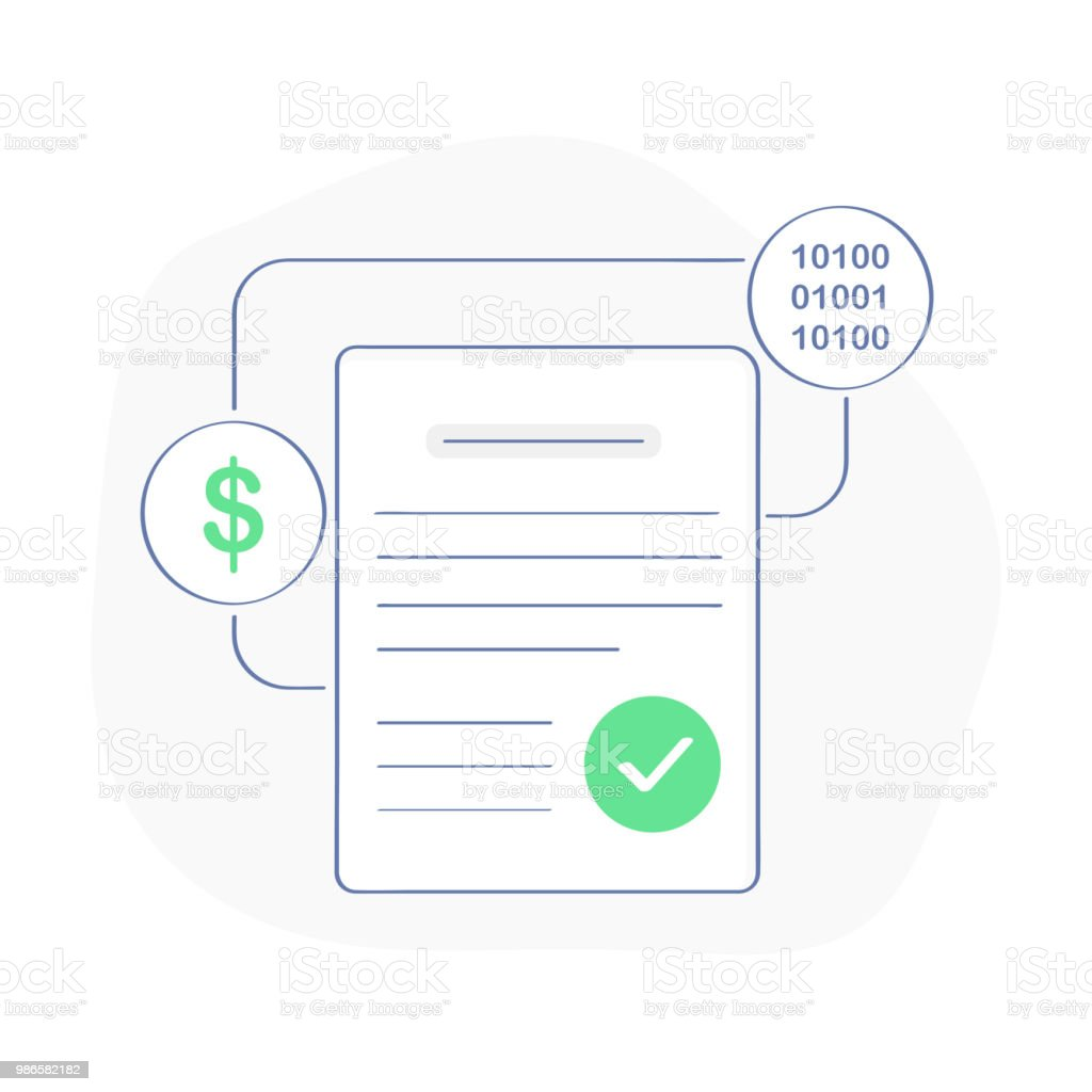 Smart Contract Concept Page White Sheet With Success Icon Dollar ...