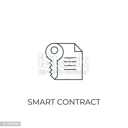Smart Contract Line icon. Simple element illustration. Smart Contract symbol design from Cryptocurrency collection. Can be used in web and mobile.