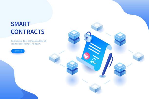 smart contract - kontrakt stock illustrations
