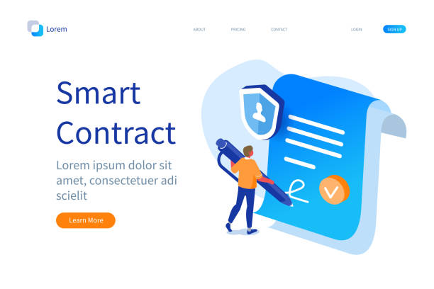 smart contract vector art illustration