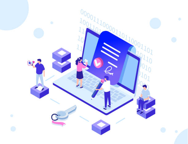 smart contract with characters Smart contract concept with characters. Can use for web banner, infographics, hero images. Flat isometric vector illustration isolated on white background. signature stock illustrations