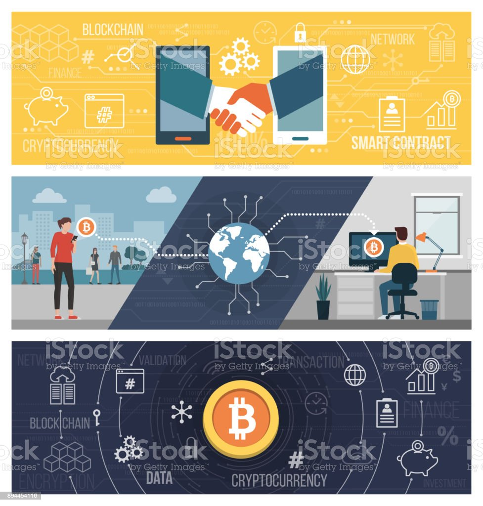 Smart contracts, bitcoin transfer and cryptocurrency vector art illustration