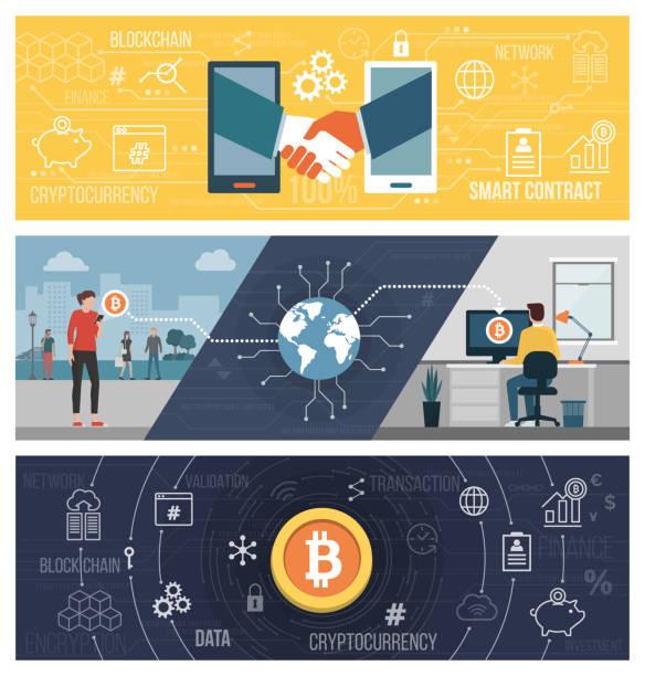 스마트 계약, bitcoin 전송 및 cryptocurrency - 토큰 stock illustrations