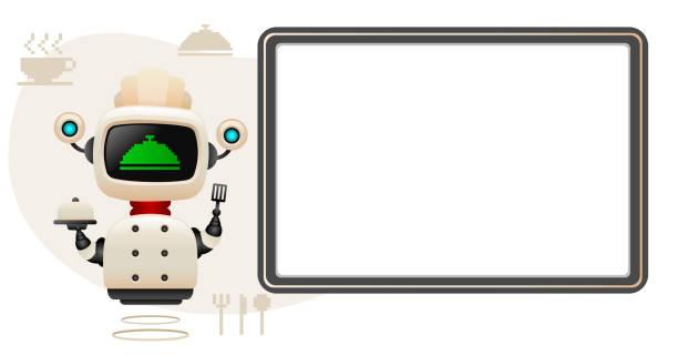 ilustraciones, imágenes clip art, dibujos animados e iconos de stock de robot jefe de cocina inteligente con cartel. - busy restaurant kitchen