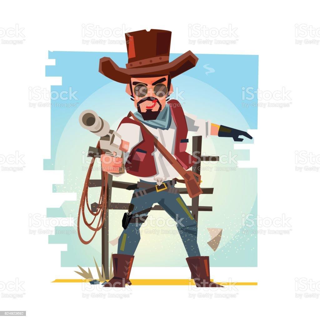 Smart cowboy holding his gun and aiming the guns. character design - vector vector art illustration