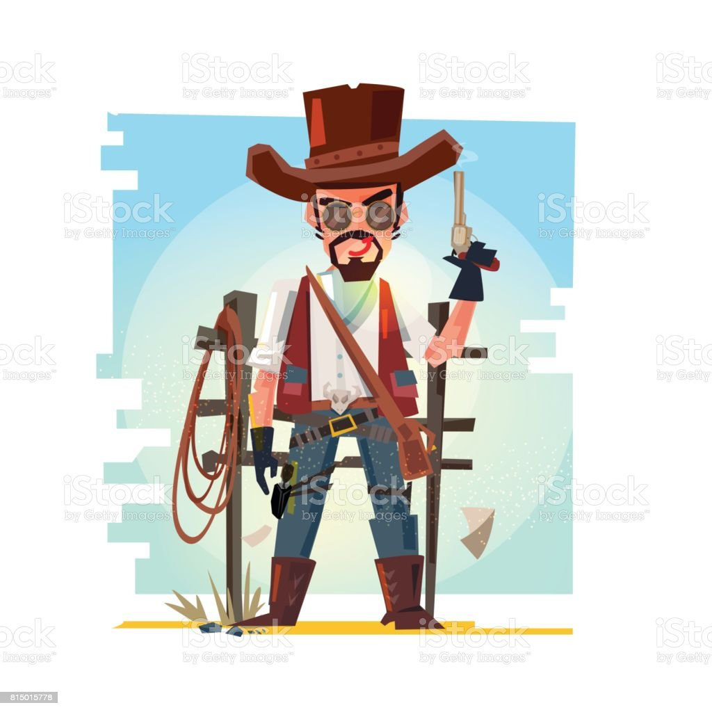 Smart cowboy holding his gun. character design - vector illustration vector art illustration