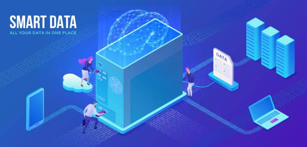 Intelligente Datenerhebung Website-Vorlage, isometrische 3D-Illustration mit Computer, künstliche Intelligenz, Menschen sammeln Cloud-Daten, moderne Infografik, ai Konzept, ui, ux Design – Vektorgrafik