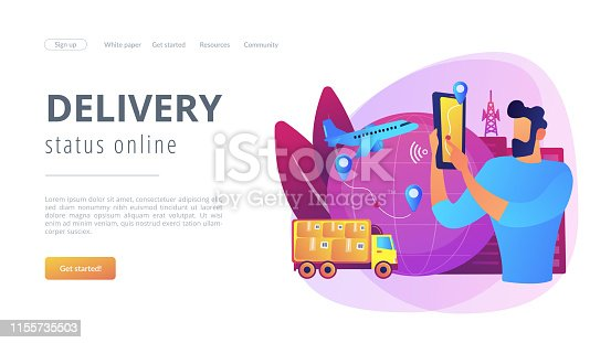 Man check Internet store shipment. Goods worldwide shipping. Smart delivery tracking, track your orders, delivery status online concept. Website homepage landing web page template.