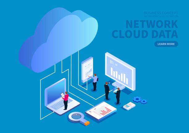 inteligentne urządzenia i chmura danych internetowych oszczędności i analizy - chmura stock illustrations