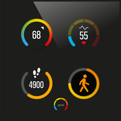 Smart device dashboard with heart beat rate check, walking speed and pedometer app in black background