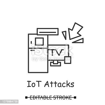 Smart devices hacking icon. Smart technology home devices hacker attack linear pictogram. Concept of internet of things botnet and IoT device information security. Editable stroke vector illustration