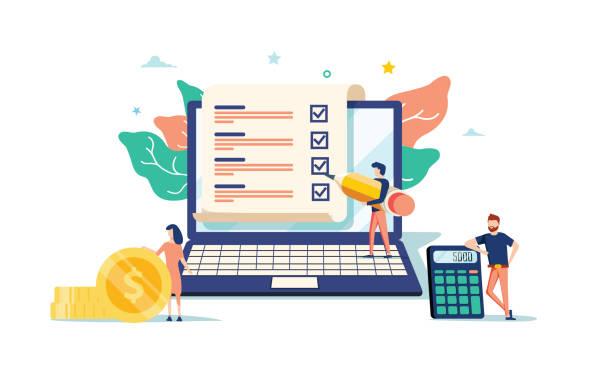 smart digital contract vector illustration concept, biznesmen podpisujący umowę online z laptopem - ludzkie części ciała stock illustrations