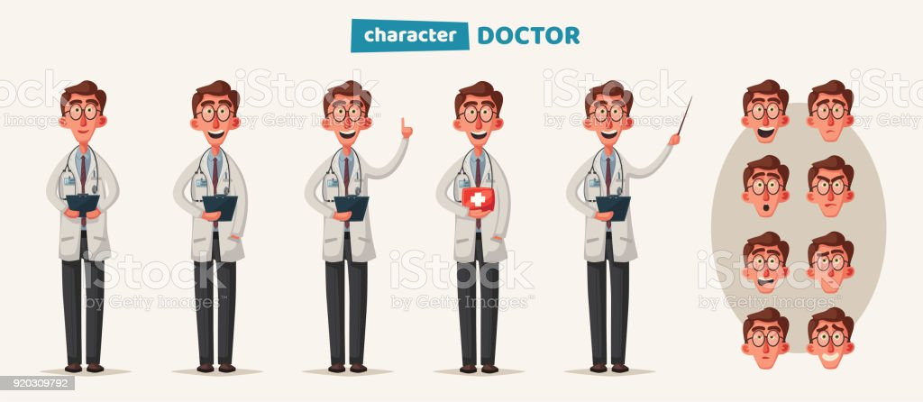 Cartoonsmart Character Design : Smart doctor funny character design cartoon vector