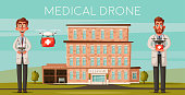 Smart doctors. Modern hospital. Facade of clinic. Modern technologies. Cartoon vector illustration. Healthcare concept. Cute physicians with drone. Transportation of organs