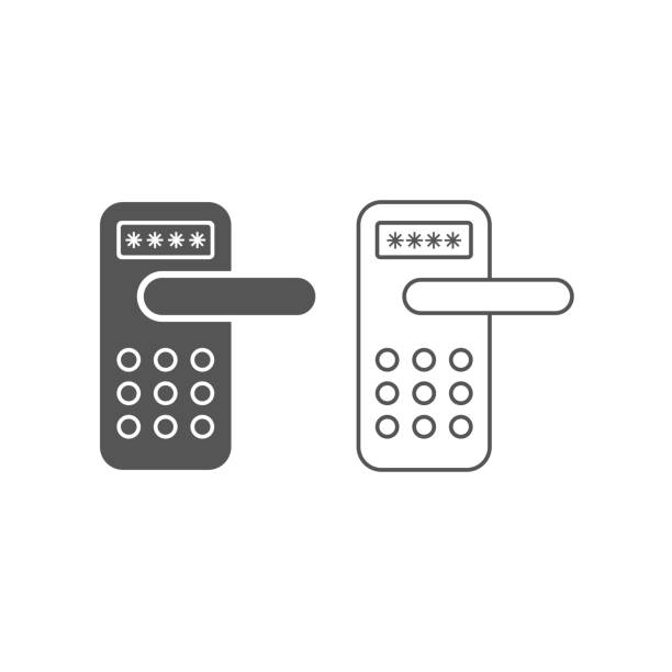 Smart door locks on white background, smart home concept. Flat and line icons. EPS 10 vector art illustration