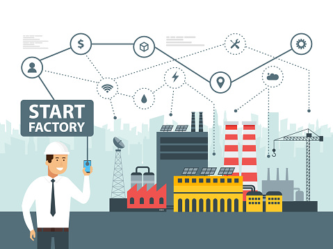 613881746 istock photo Smart factory and network icons. Engineer starting a smart plant. Smartphone online control big data. Vector illustration 942782034