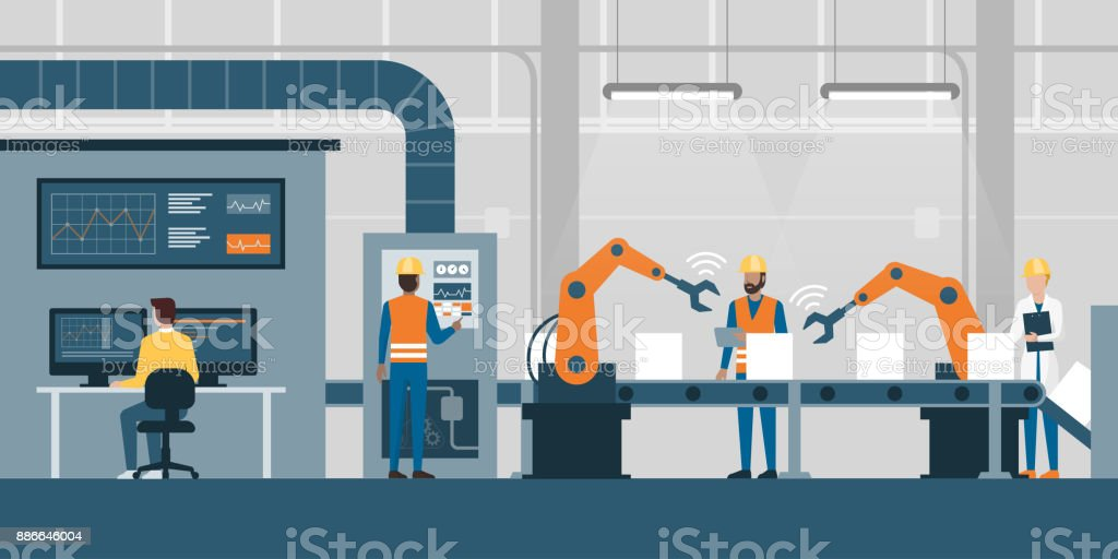 Smart factory and production line vector art illustration
