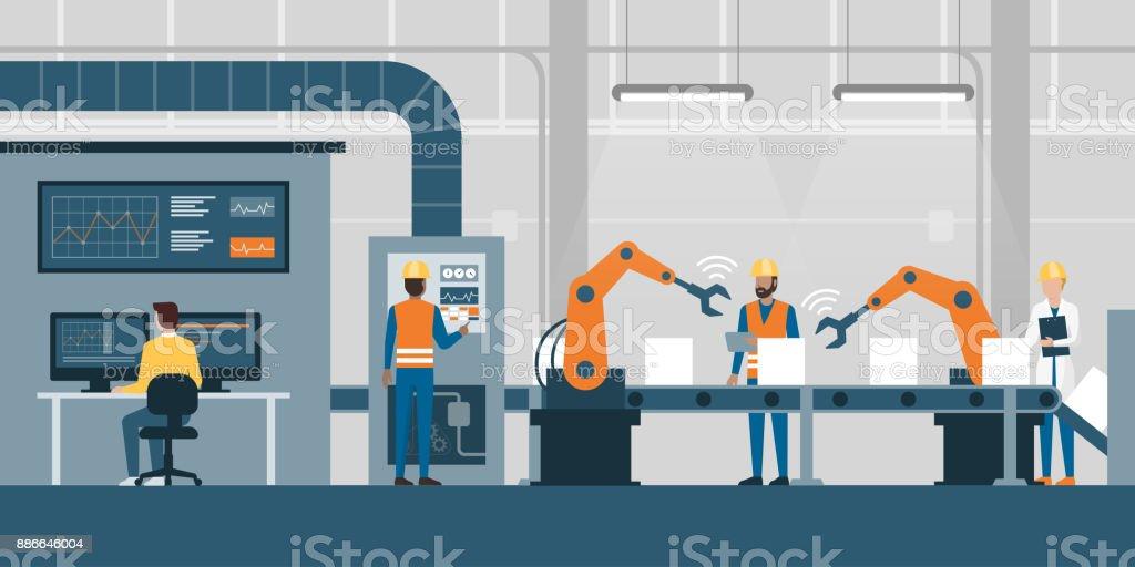 Slimme fabriek en productielijnvectorkunst illustratie