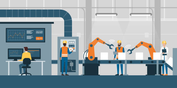 Smart factory and production line Efficient smart factory with workers, robots and assembly line, industry 4.0 and technology concept medical technical equipment stock illustrations