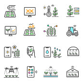 Smart farm, agriculture electronic technology color line icons set isolated on white. Gardening innovation outline pictograms collection. Monitoring system, sensor vector element for infographic, web.
