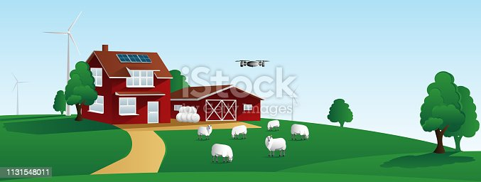 istock Smart farm. Digital agriculture and renewable energy. 1131548011