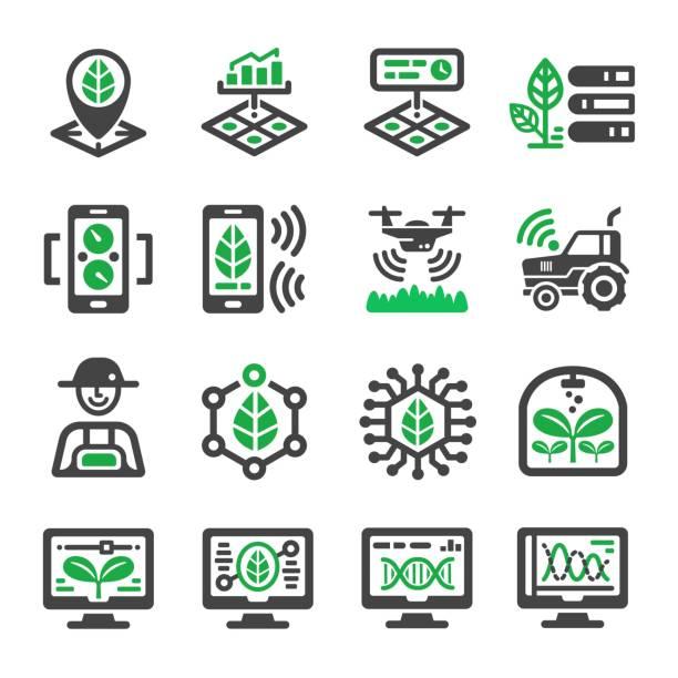 bildbanksillustrationer, clip art samt tecknat material och ikoner med ikonen för smart gård - odla
