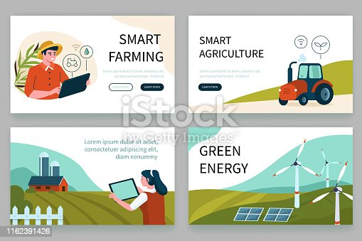 Smart farm concept banners templates. Can use for backgrounds, infographics, hero images. Flat style modern vector illustration.