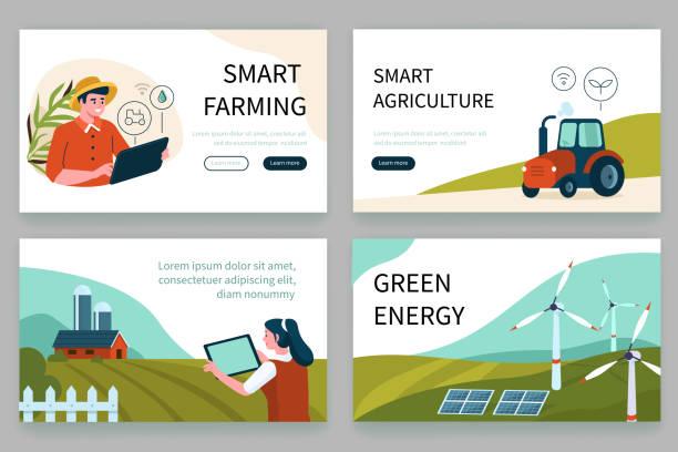 ilustrações de stock, clip art, desenhos animados e ícones de smart farm - solar panel