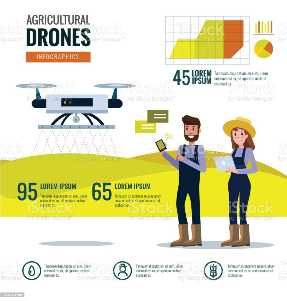 Smart farmer and agricultural drones infographics. vector art illustration