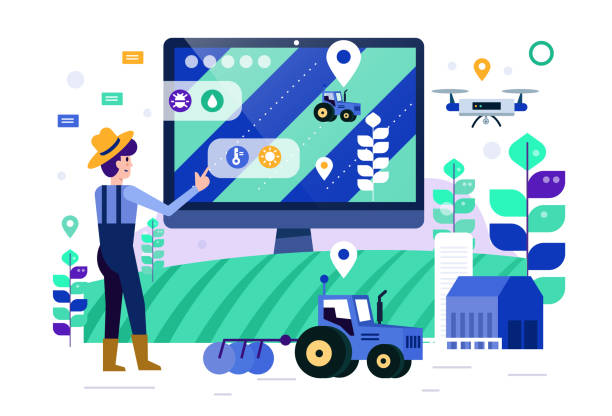 Smart farmer touch computer screen to monitor and control smart farm. future agriculture concept. Flat design elements. Vector illustration organic farm stock illustrations