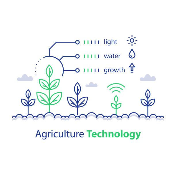 illustrations, cliparts, dessins animés et icônes de une agriculture intelligente, technologie agricole, tige et rapport sur les conditions, concept infographie, contrôle de la croissance - agriculture