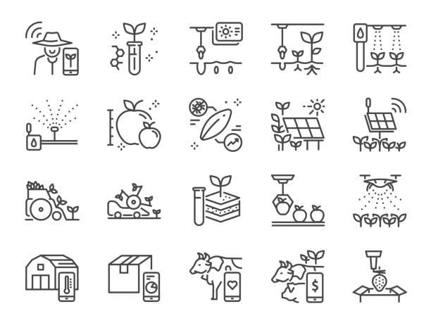 illustrazioni stock, clip art, cartoni animati e icone di tendenza di smart farming line icon set. included icons as farmer, agriculture, planting, app, online control and more. - farmer