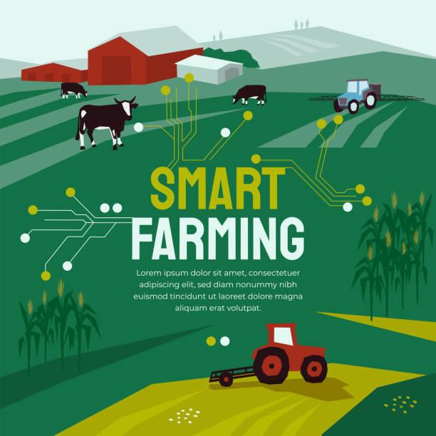 Smart Farming template with circuit board – artystyczna grafika wektorowa