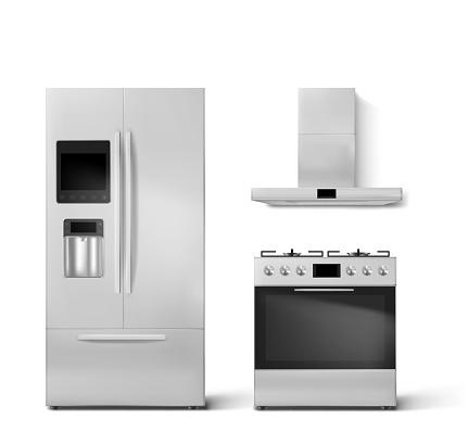 Smart fridge, gas oven and hood kitchen appliances