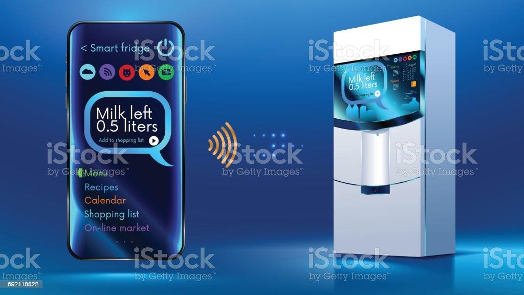 Smart fridge iot vector art illustration